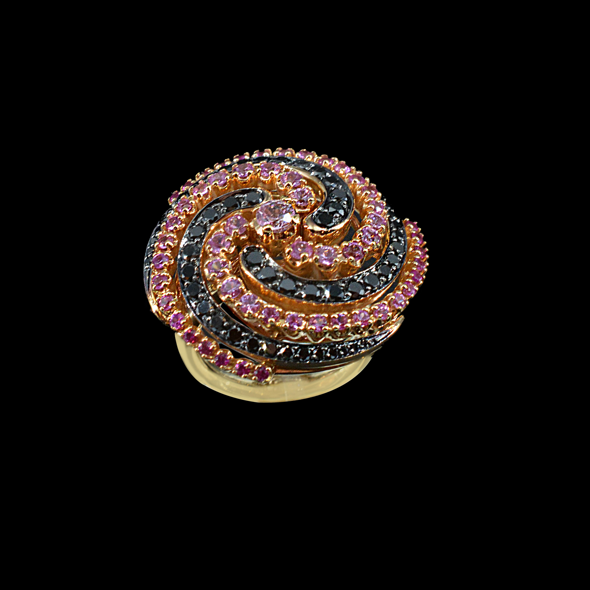 Pink Sapphires and Black Diamonds ring d8ad6a066b8